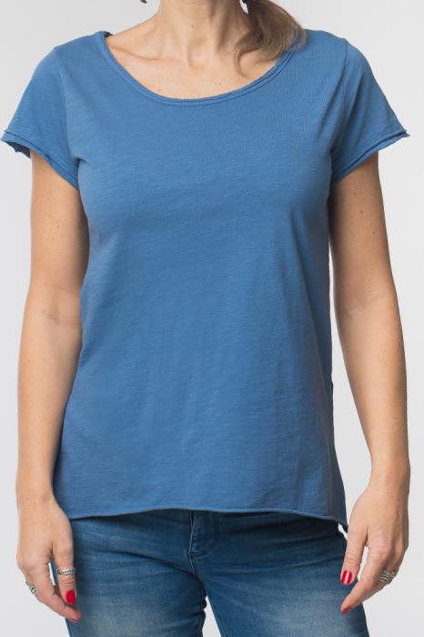 Tricou albastru din bumbac cu maneca scurta 0