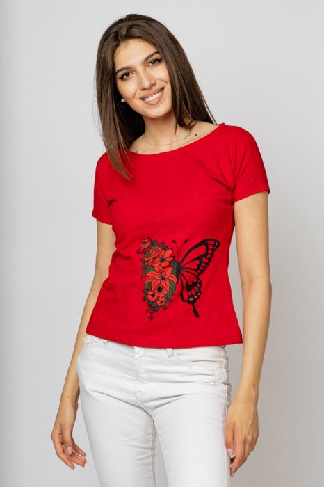 Tricou cambrat rosu din bumbac cu imprimeu fluture si flori [0]