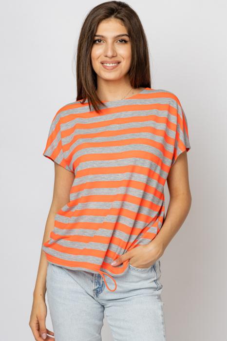 Tricou cu dungi gri - portocalii si snur la poale, din vascoza [0]