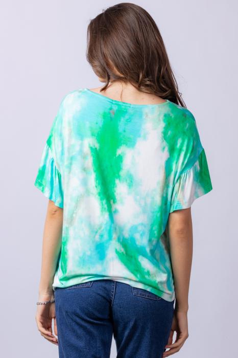 "Tricou cu maneca volan ""Asian Dye"" pe fond verde [5]"