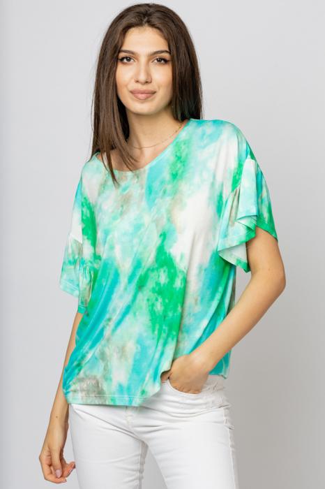 "Tricou cu maneca volan ""Asian Dye"" pe fond verde [0]"