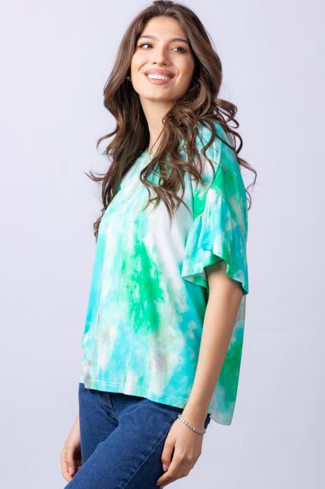"Tricou cu maneca volan ""Asian Dye"" pe fond verde [3]"