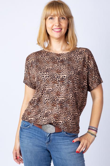 Tricou din vascoza cu imprimeu animal print - leopard [0]