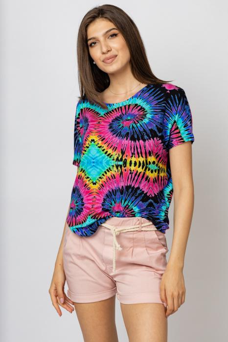 """Tricou din vascoza cu imprimeu """"Asian Dye"""" multicolor [1]"""