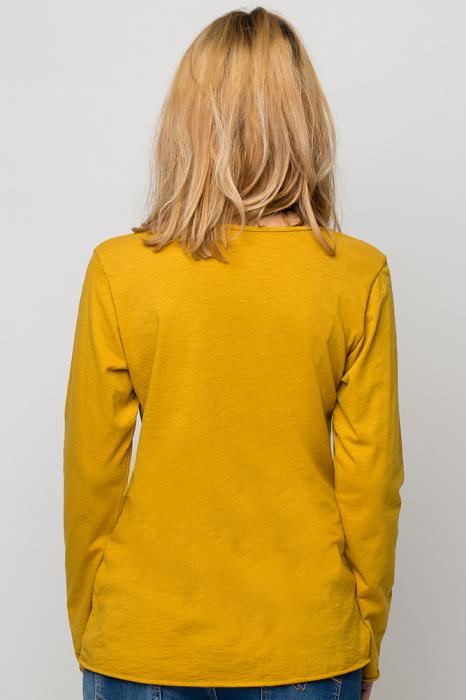 Tricou galben din bumbac cu maneca lunga 2