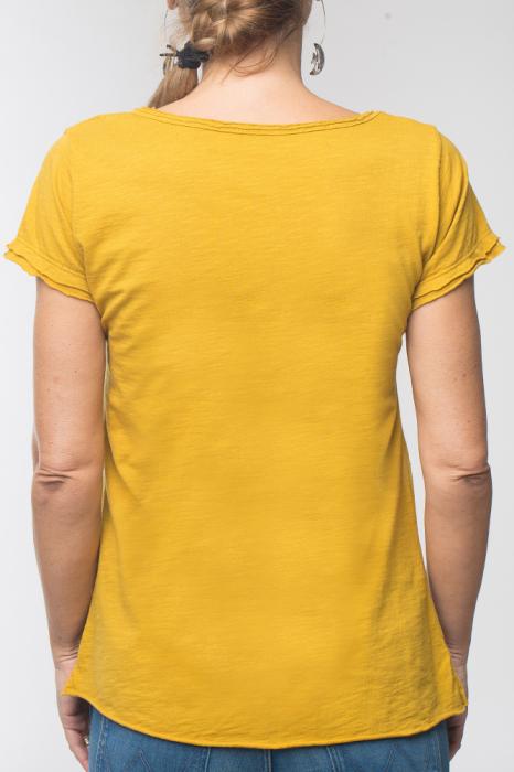 Tricou galben din bumbac cu maneca scurta 2