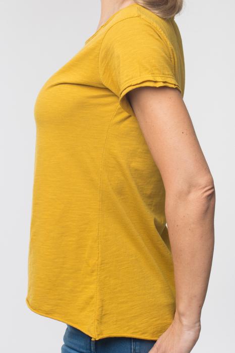 Tricou galben din bumbac cu maneca scurta 1