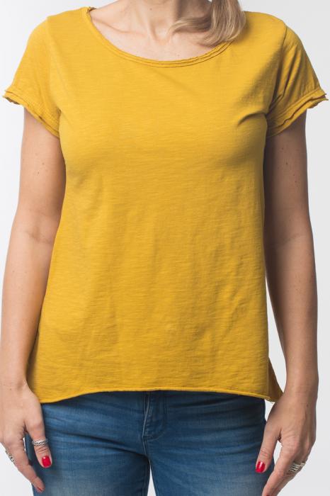 Tricou galben din bumbac cu maneca scurta 4