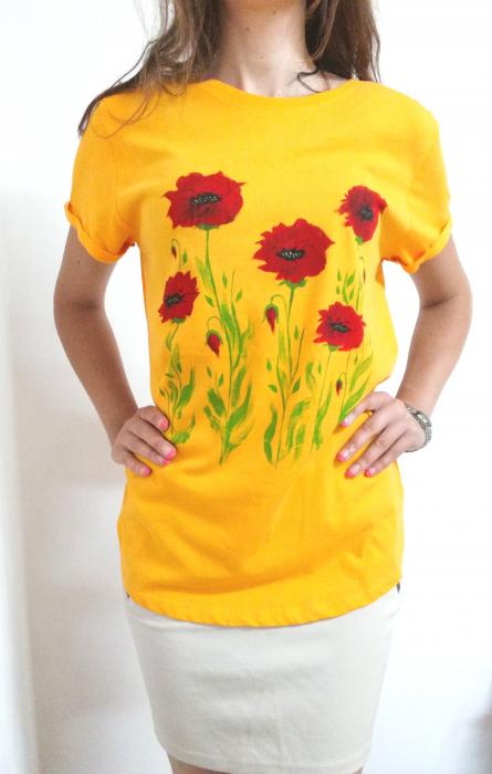 Tricou galben pictat manual  cu maci rosii [0]
