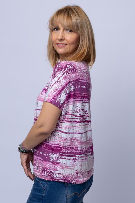 Tricou alb-roz oversize, din vascoza [1]