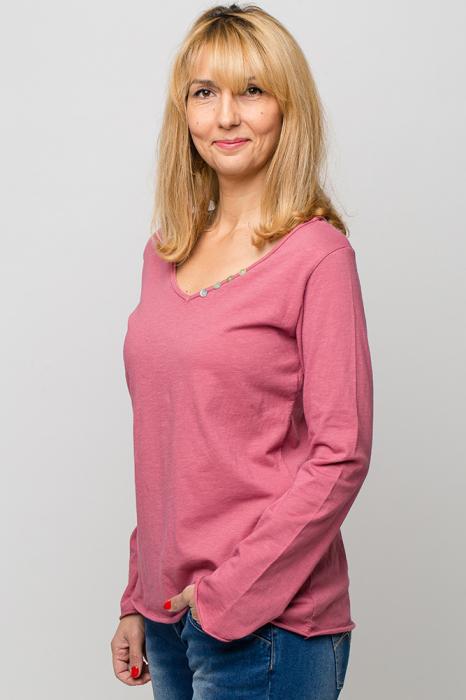 Tricou roz din bumbac cu maneca lunga 1