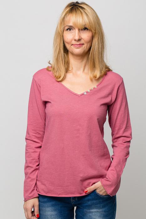 Tricou roz din bumbac cu maneca lunga 0