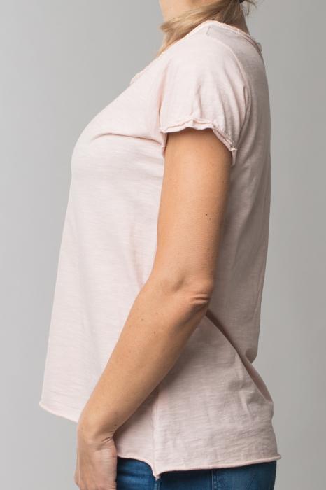 Tricou roz prafuit din bumbac cu maneca scurta 1