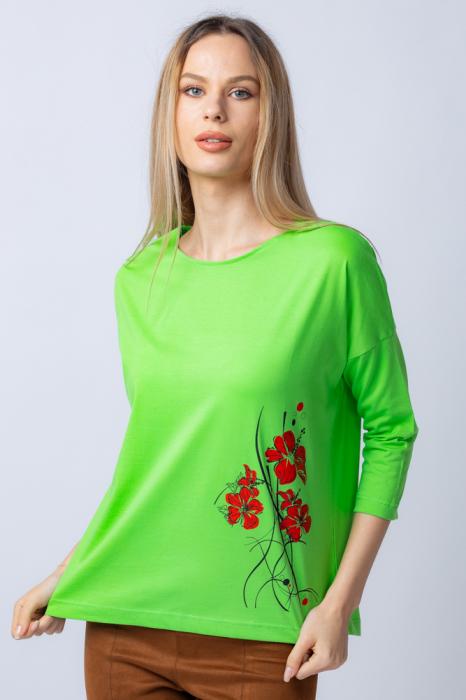 Tricou verde din bumbac, cu maneci 3/4 si imprimeu maci [0]