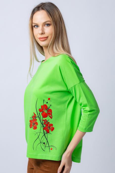 Tricou verde din bumbac, cu maneci 3/4 si imprimeu maci [4]