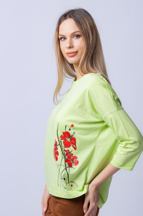 Tricou verde menta din bumbac, cu maneci 3/4 si imprimeu maci [1]
