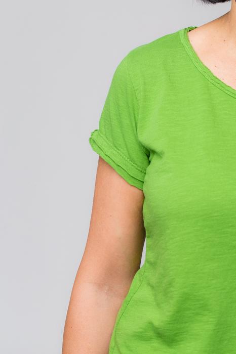 Tricou verde praz din bumbac cu maneca scurta [3]