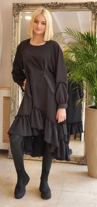 Rochie midi neagra oversize, cu volan si fermoare, extravaganta [0]