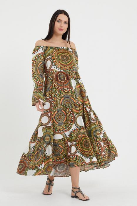 Rochie lunga cu imprimeu multicolor cu fond bej, cu 4 volane din tesatura fina din vascoza [0]