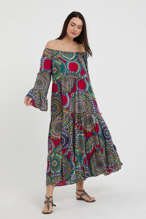 Rochie lunga cu imprimeu multicolor cu fucsia, cu 4 volane din tesatura fina din vascoza [0]