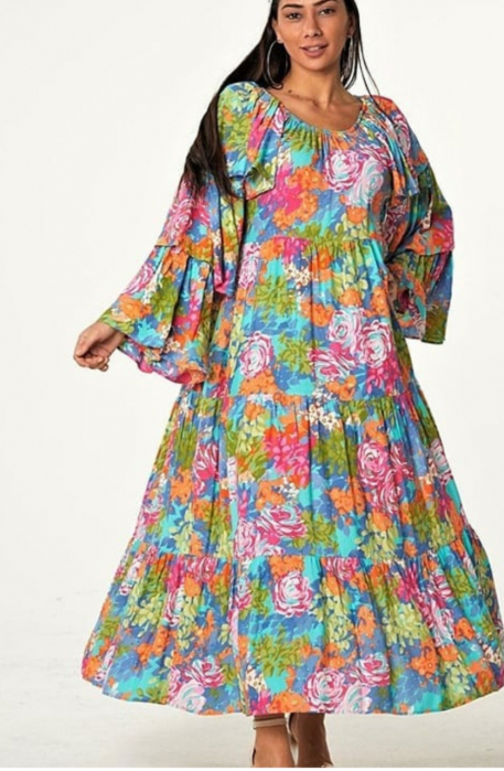 Rochie lunga cu imprimeu multicolor cu nuante de roz si albastru, cu maneci ample cu 3 volane, din vascoza [0]
