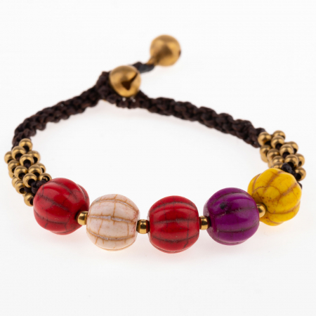 Bratara usor ajustabila cu snur impletit si pietre multicolore cu striatii [0]