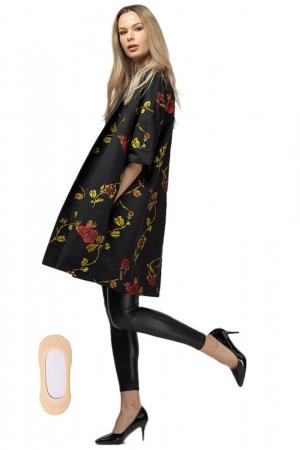 Jacheta midi oversize trendy, neagra cu imprimeu floral3