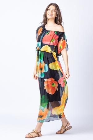 Rochie lunga, cu imprimeu floral multicolor pe fond negru, din matase0
