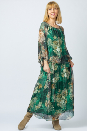 Rochie lunga, cu imprimeu floral pe fond verde, din matase [0]