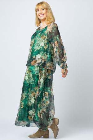 Rochie lunga, cu imprimeu floral pe fond verde, din matase [1]