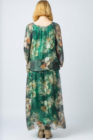 Rochie lunga, cu imprimeu floral pe fond verde, din matase [2]