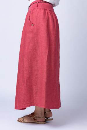 Fusta lunga casual, roz inchis, din in, cu o curea fancy2