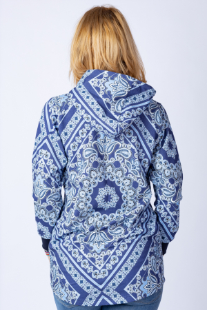 Hanorac bleumarin cu imprimeu arabesque, asimetric, cu gluga [2]