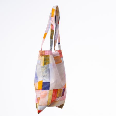 Geanta shopper din material textil, imprimeu geometric pastelat [1]