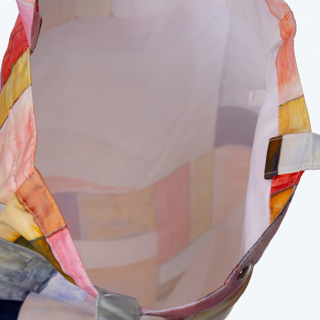 Geanta shopper din material textil, imprimeu geometric pastelat [2]