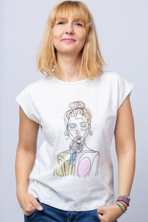 Tricou alb cu imprimeu bust fata desenata din linii, din bumbac [0]