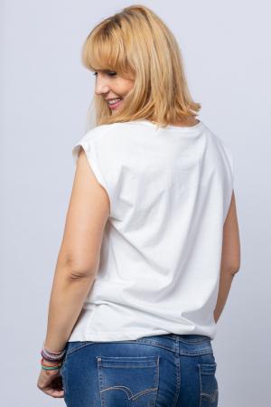 Tricou alb cu imprimeu bust fata desenata din linii, din bumbac [1]