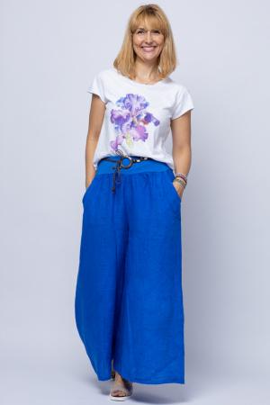 Fusta pantalon albastru electric casual, din in, cu o curea fancy [0]