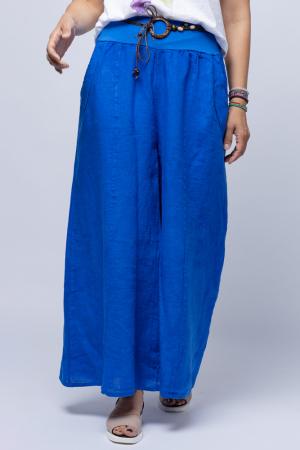 Fusta pantalon albastru electric casual, din in, cu o curea fancy [2]