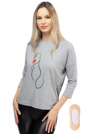 Tricou gri cu imprimeu silueta de pisica3