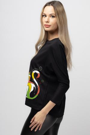 Tricou neagru cu imprimeu pisica colorata [1]