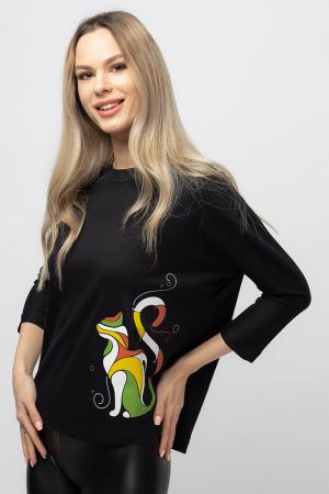 Tricou neagru cu imprimeu pisica colorata [0]