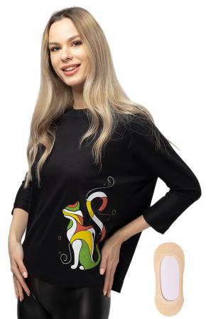 Tricou neagru cu imprimeu pisica colorata [3]