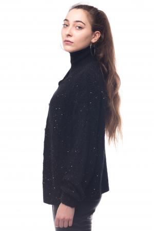 Blazer girlish negru cu insertii de fire aurii1