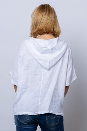 Bluza alba asimetrica din in, cu gluga [2]