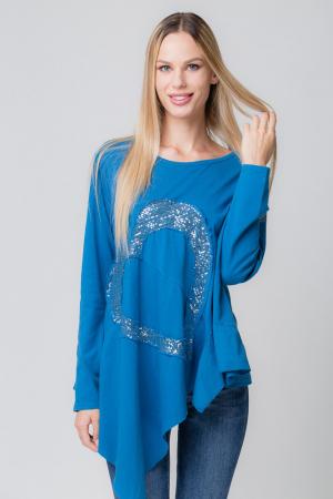 Bluza albastra asimetrica cu inima paiete [0]
