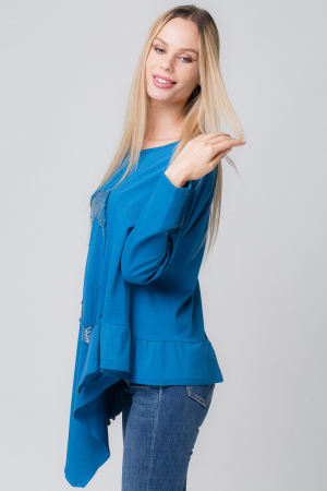 Bluza albastra asimetrica cu inima paiete [1]