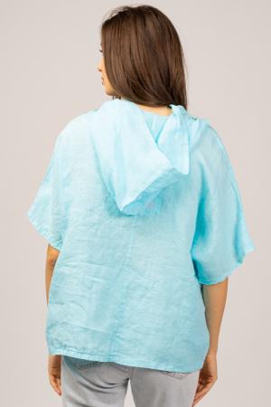 Bluza albastru azzuro din in, cu gluga [2]