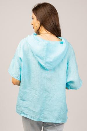 Bluza albastru azzuro din in, cu gluga [3]