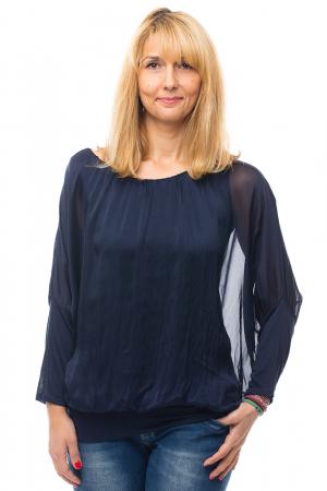Bluza bleumarin uni din matase naturala cu maneca lunga fluture si elastic la poale0